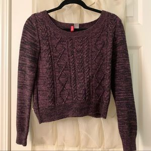 H&M • Purple Cable Knit Cropped Sweater